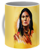 Maiden In White Feather And Beads Coffee Mug