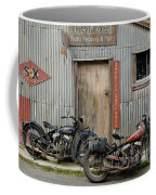 Indian Chout And Chief Bobber At The Old Okains Bay Garage Coffee Mug