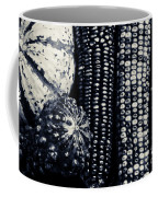 Indian Corn And Squash In Black And White Coffee Mug