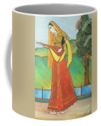 Indian Lady Playing Ancient Musical Instrument Coffee Mug