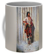 Indian Maid At Stockade By Charles Marion Russell Coffee Mug