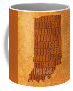 Indiana State Word Art On Canvas Coffee Mug by Design Turnpike