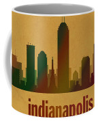 Indianapolis Skyline Watercolor On Parchment Coffee Mug