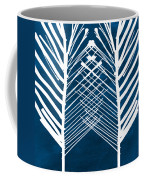 Indigo And White Leaves- Abstract Art Coffee Mug