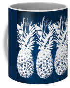 Indigo And White Pineapples Coffee Mug by Linda Woods