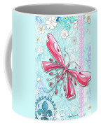 Inspirational Dragonfly Floral Fleur De Lis Art Sweet Charity By Megan Duncanson Coffee Mug