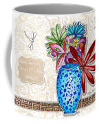 Inspirational Floral Dragonfly Painting Flower Vase With Quote By Megan Duncanson Coffee Mug