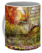 Inspirational - Home Is Where It's Warm Inside - Ben Franklin Coffee Mug by Mike Savad