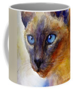 Intense Siamese Cat Painting Print 2 Coffee Mug by Svetlana Novikova
