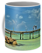 Investigating At Rod And Reel Pier Coffee Mug