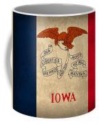 Iowa State Flag Art On Worn Canvas Coffee Mug