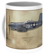Ira Kepford F4u Corsair - Map Background Coffee Mug
