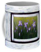 Irises And Old Boards - Weathered Wood Coffee Mug