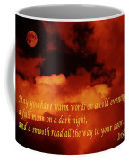 Irish Blessing On Orange Clouds And Full Moon Coffee Mug
