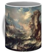 Italian Seascape With Rocks And Figures Coffee Mug