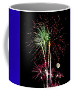 Its Raining Red Drops On The Red Flowers - Fireworks And Moon Coffee Mug