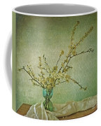 Ivory And Turquoise Coffee Mug by Priska Wettstein