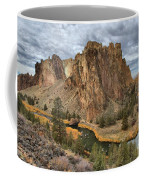 Jagged Peaks And River Reflections Coffee Mug
