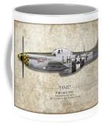 Janie P-51d Mustang - Map Background Coffee Mug