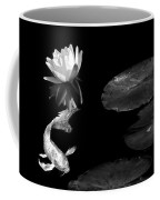 Japanese Koi Fish And Water Lily Flower Black And White Coffee Mug