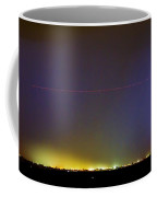 Jet Over Colorful City Lights And Lightning Strike Panorama Coffee Mug by James BO  Insogna