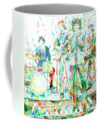 Jim Morrison And The Doors Live On Stage- Watercolor Portrait Coffee Mug