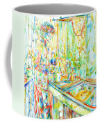 Jimi Hendrix In The Kitchen Watercolor Portrait Coffee Mug