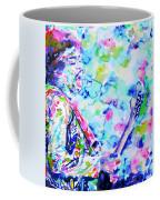 Jimi Hendrix Playing The Guitar.4 -watercolor Portrait Coffee Mug