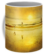 Jogging On Beach With Gulls Coffee Mug