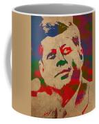 John F Kennedy Jfk Watercolor Portrait On Worn Distressed Canvas Coffee Mug by Design Turnpike