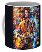 Johnny Cash - Palette Knife Oil Painting On Canvas By Leonid Afremov Coffee Mug