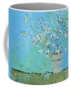 Joyful Daisies, Flowers, Modern Impressionistic Art Palette Knife Oil Painting Coffee Mug