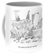 Judge Sits At The Head Of A Destroyed Courtroom Coffee Mug