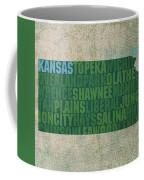 Kansas Word Art State Map On Canvas Coffee Mug