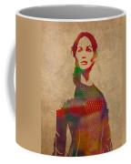 Katniss Everdeen From Hunger Games Jennifer Lawrence Watercolor Portrait On Worn Parchment Coffee Mug