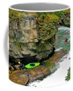 Kayakers In Maligne Canyon In Jasper Np-alberta Coffee Mug