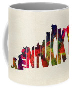 Kentucky Typographic Watercolor Map Coffee Mug