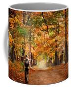 Kid With Backpack Walking In Fall Colors Coffee Mug