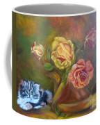 Kitty In The Roses Coffee Mug