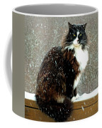 Kittycat In The Snow On The Fence Coffee Mug