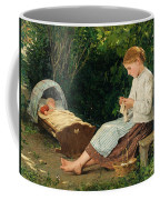 Knitting Girl Watching The Toddler In A Craddle Coffee Mug
