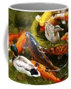 Koi Fish In Pond Swimming With Two Mallard Ducks Coffee Mug