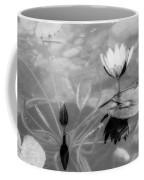 Koi Pond With Lily Pad Flower And Bud Black And White Coffee Mug