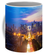 La Defense And Champs Elysees At Sunset In Paris France Coffee Mug