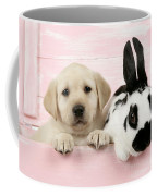 Lab Puppy And Bunny Coffee Mug