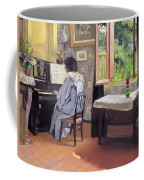Lady At The Piano Coffee Mug by Felix Edouard Vallotton