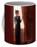 Lady In Black By Window Coffee Mug
