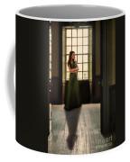 Lady In Green Gown By Window Coffee Mug by Jill Battaglia