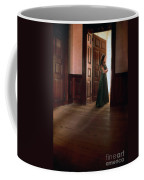 Lady In Green Gown In Doorway Coffee Mug by Jill Battaglia