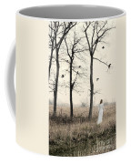 Lady In White In Autumn Landscape Coffee Mug